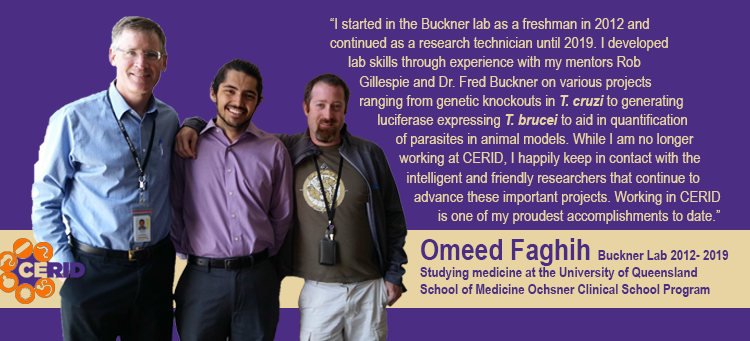 Left to right: Dr. Fred Buckner, past research tech Omeed Faghih, and Rob Gillespie pose for a picture on Omeed's last day in lab before entering School of Medicine Oshsner Clinical School in Queensland, Australia