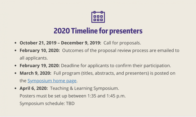 Listing of Symposium timeline starting with submission dates
