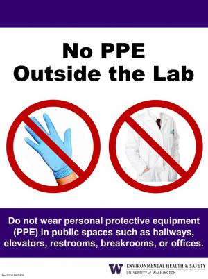 No Personal Protective Equipment Outside the Lab Poster